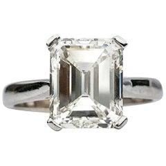 Emerald Cut White Diamond J SI1 Bespoke  3.75ct EGL Certificate Engagement Ring