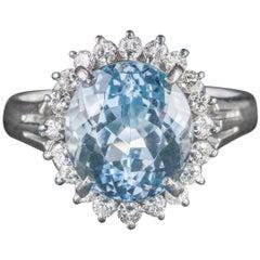 Antique Victorian Aquamarine Diamond Cluster Ring Platinum, circa 1900