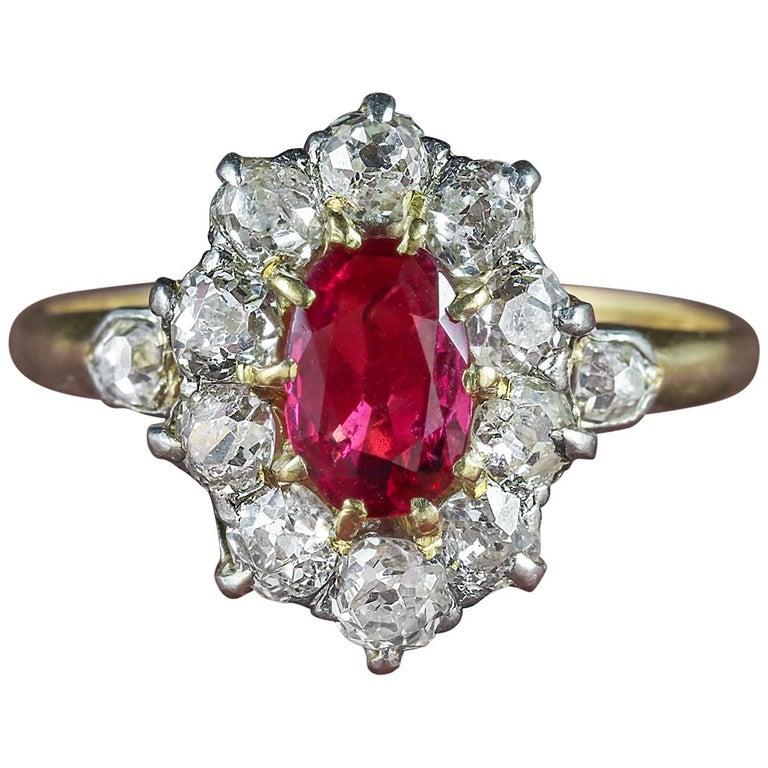 Antique Victorian Ruby Diamond Cluster Ring Platinum 18 Carat Gold, circa 1900