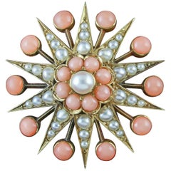 Antique Victorian Coral Pearl Star Brooch 18 Carat Gold, circa 1900