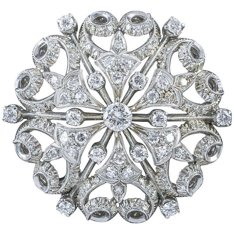 Antique Victorian Diamond Brooch 18 Carat White Gold, circa 1900