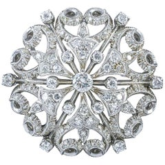 Antique Victorian Diamond Brooch 18 Carat White Gold, circa 1900