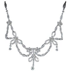 Antique Edwardian Diamond Necklace Platinum, circa 1910