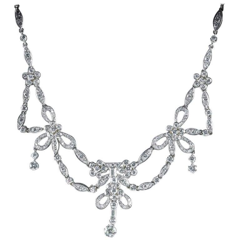Antique Edwardian Diamond Necklace Platinum, circa 1910