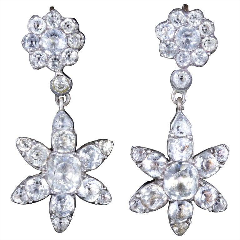 Antique Georgian Paste Stone Flower Earrings Silver, circa 1800