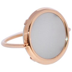 Round Moonstone and Rose Gold 18 Karat Fashion Ring