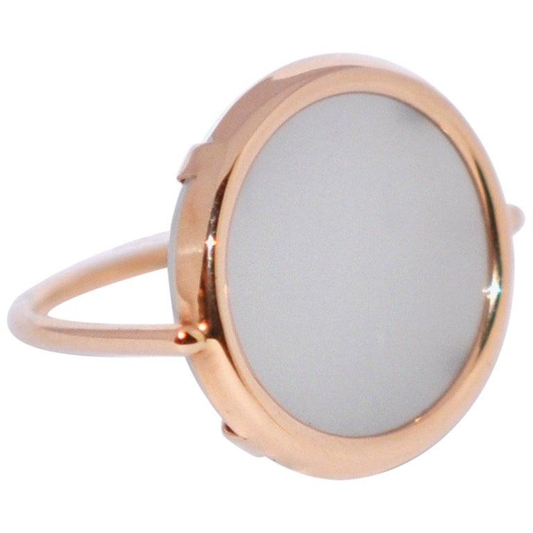 Round Moonstone and Rose Gold 18 Karat Fashion Ring