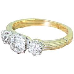Art Deco 0.94 Carat Old Cut Diamond Trilogy Ring, circa 1925