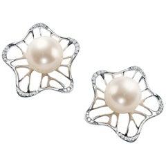 Fei Liu 18 Karat White Gold Large Pearl Stud Earrings