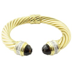 David Yurman 18 Karat Gold Renaissance Cable Cuff Bracelet Smokey Topaz Diamond