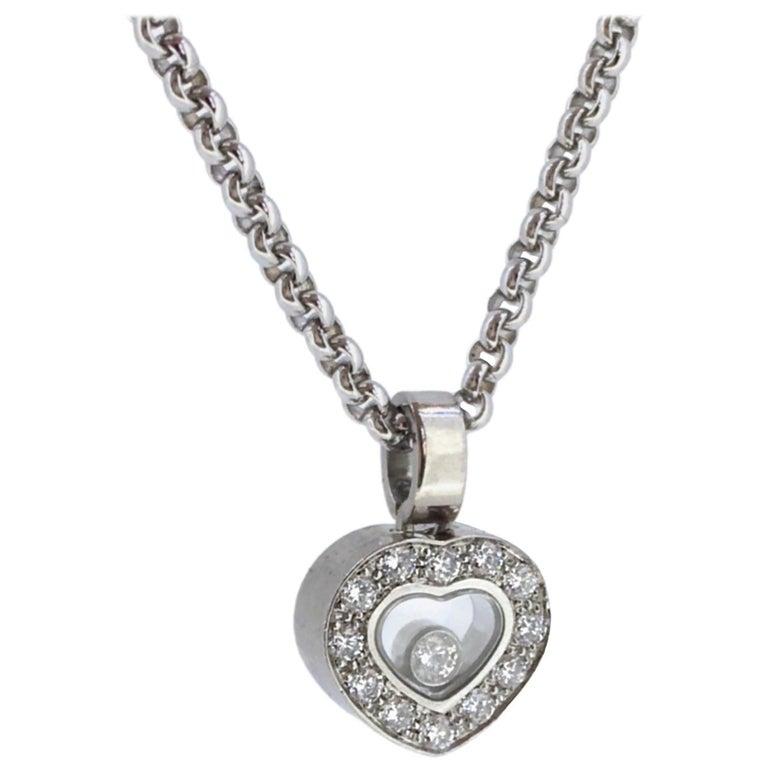 Rare chopard happy diamond heart necklace at 1stdibs chopard happy diamonds floating diamond white gold heart shape pendant necklace aloadofball Images