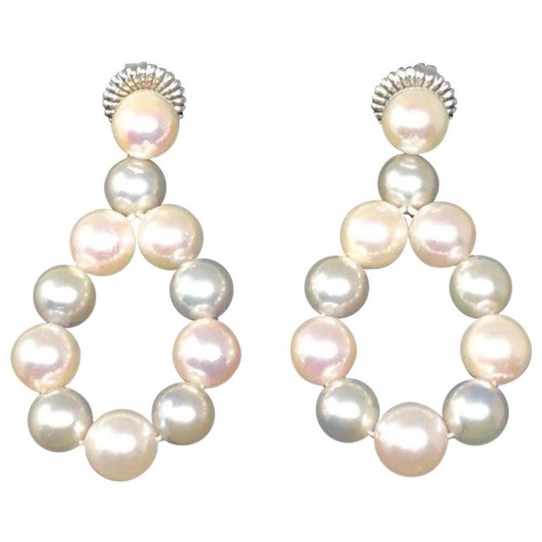 Beijing Pearl Market Custom Hanging Loop Grey and White Pearl Earrings