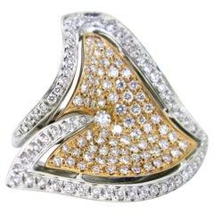 Brilliant Cut Diamond Rose White Gold Design Fashion Cocktail Ring