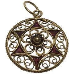 Vintage Portuguese Gold Filigree Star Pendent Charm