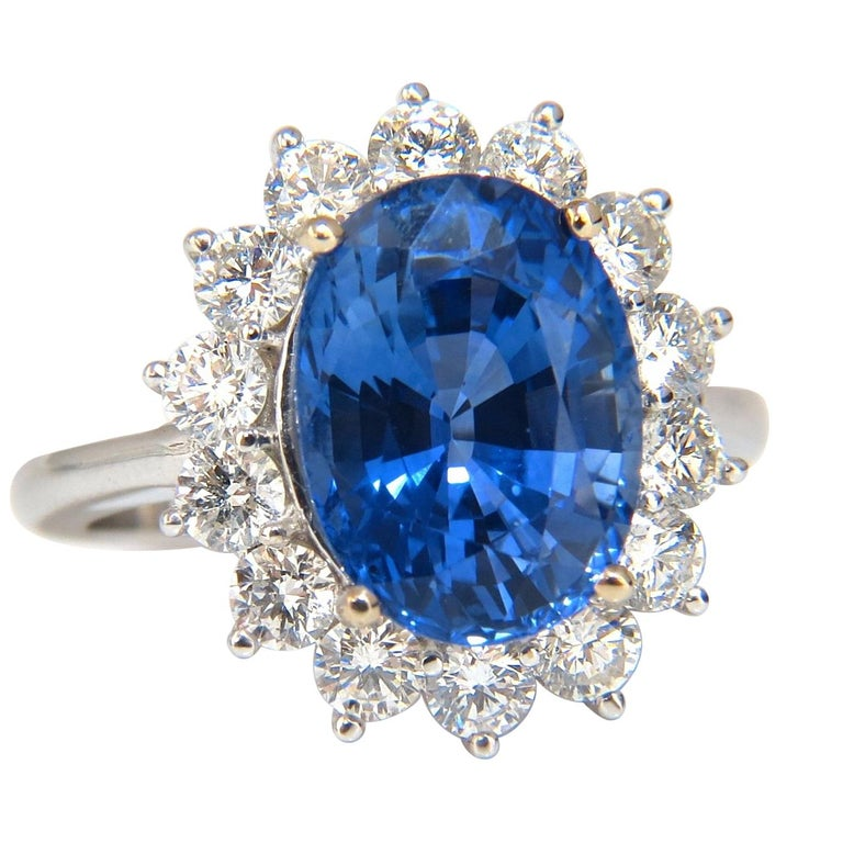 GIA Certified 7.39 Carat Natural Blue Sapphire Diamond Ring 18 Karat