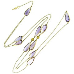 Pear Cut Amethyst Yellow Gold circa 1930 Chain Sautoir Necklace