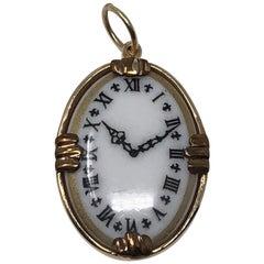 Vintage White Face Gold Edge Clock Pendent Charm