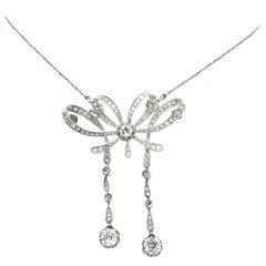 Edwardian Garland Diamonds Platinum Negligee and Box Brooch Necklace