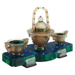 Lapis Lazuli Rock Crystal, Agate, Blue and Green Enamel Cartier Art Deco Inkwell