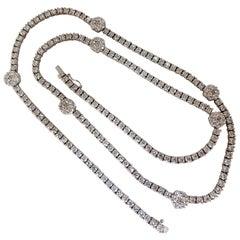 18.50 Carat Diamonds Cluster Necklace Station Yard Long 14 Karat