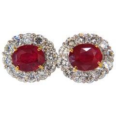 12.12 Carat GRS No Heat Oval Vivid Red Ruby Diamond Cluster Earrings Winza