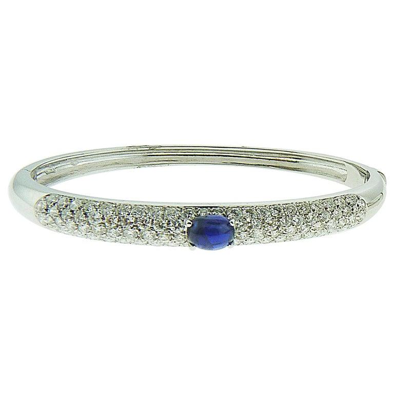 Sapphire and Diamond Bangle in 18 Karat White Gold