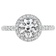 1.62 Total Carat Weight Round Diamond Halo Ring