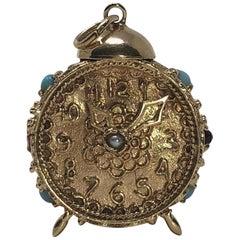 Vintage 14 Karat Gold Etruscan Alarm Clock Hands Move Pendant Charm