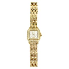 Cartier yellow Gold Diamond Mother-of-Pearl Panthére Quartz Wristwatch