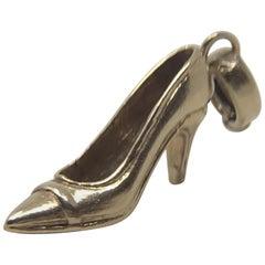 Vintage Gori & Zucchi Italian 14 Karat Gold High Heel Pump Pendant Charm