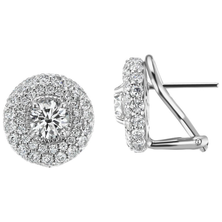 3 10 Carat Total Weight Round Halo Diamond Earrings In 18 Karat White Gold For