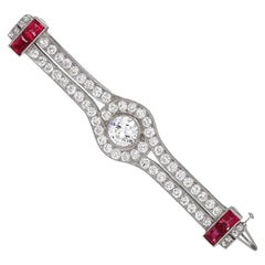 Cartier Art Deco Diamond and Ruby Brooch
