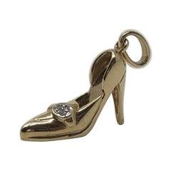 Vintage 14 Karat Gold 1/10 Carat TDW Diamond High Heel Shoe Pendant Charm