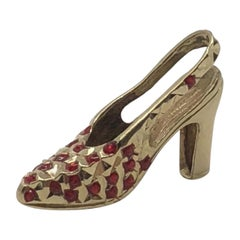Vintage 14 Karat Gold Red Garnet High Heel Sling Back Pump Pendant Charm