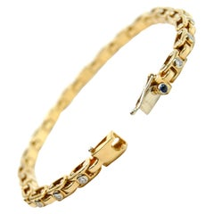 Yellow and White Gold Tennis Bracelet