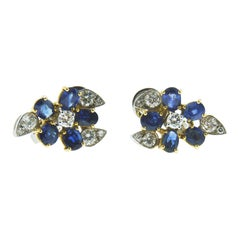 Earrings in 18 Karat White and Yellow Gold with Sapphires and Diamonds