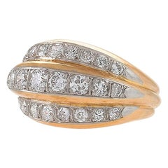 French Gold and Platinum Ring with Diamonds by Van Cleef & Arpels