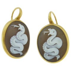Pomellato Cameo Earrings in 18 Karat Rose Gold