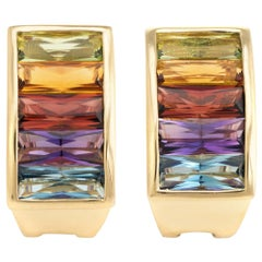 Rainbow Gemstone Semi Precious Earrings Vintage 18 Karat Gold Estate Jewelry