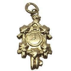 Vintage 18 Karat Gold Cuckoo Clock Pendant Charm