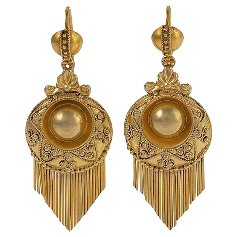 Victorian Gold Fringe Earrings For Sale