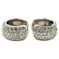 Diamond Huggie Earrings 1.28 Carat 14 Karat White Gold