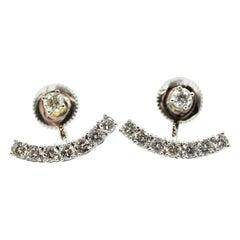 Diamond Stud Earrings with Diamond Trim 14 Karat White Gold
