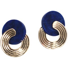 Lapis and Gold Modernist Earrings