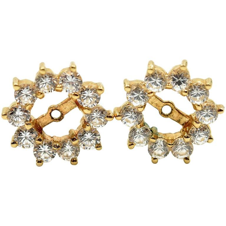 Diamond Earring Jackets 14 Karat Yellow Gold For