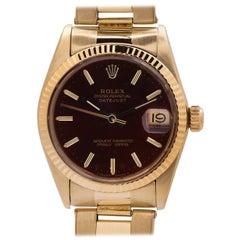 Rolex Yellow Gold Midsize Datejust self winding wristwatch Ref 6827, circa 1982