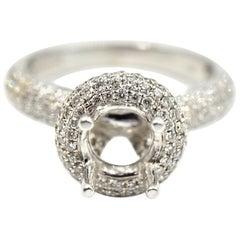 1.11 Carat Diamond 18 Karat White Gold Semi-Mount Engagement Ring
