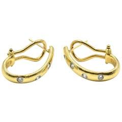 0.24 Carat Diamond Huggie Earrings 18 Karat Yellow Gold