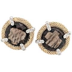 14 Karat Two-Tone Smoky Quartz and Diamond Earrings with Omega Backs