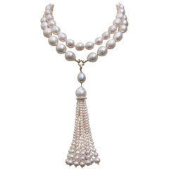 White Pearl Sautoir Necklace and Graduated Tassel with 14 Karat Gold Clasp